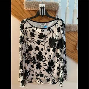 Black and Off White Floral Bell Sleeve Top